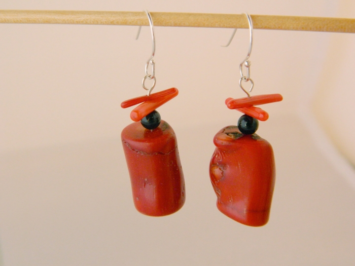Arden Jewelry Design Coral and onyx earring