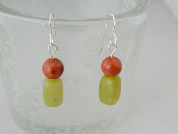 Arden Jewelry Design olive jade and red jasper earring
