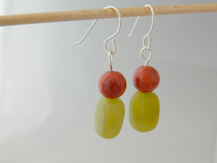 silver orange iris gemstone elm drop handcrafted jewelry rainbow earrings sterling artisan red jasper oxidized