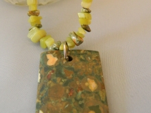 Arden Jewelry Design rhyloite and olive jade necklace